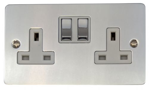 G&H FC210 Flat Plate Polished Chrome 2 Gang Double 13A Switched Plug Socket